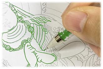 東京 池袋 金剛院 カラーペンで写仏・仏像なぞり描き用紙・仏像なぞり描き下絵ダウンロード