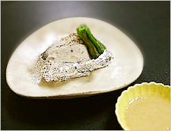 海老芋のホイル焼 納豆ソース