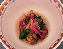 小松菜と舞茸と菊の花のおひたし
