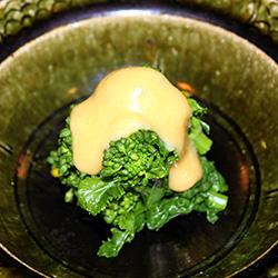 菜の花の昆布〆辛子酢味噌がけ